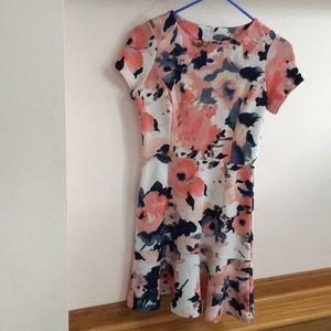 AQUA Floral Fit-and-Flare Dress